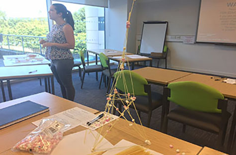 Tower made of spaghetti and mashmallows