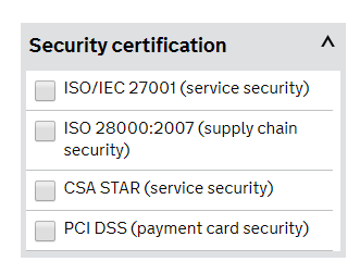G-Cloud security category filters